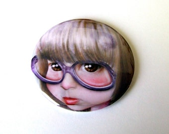 """Pocket Mirror """"Imperfect - Portrait of the Artist as a Child"""" 2 1/4"""" - Little Girl Huge Glasses"""