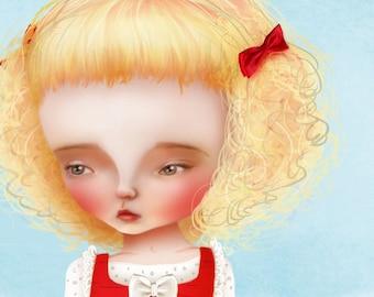 "5x7 Premium Art Print ""Juneau"" Small Size Giclee Print of Original Lowbrow Artwork - Little Tall Girl Collecting Clouds"