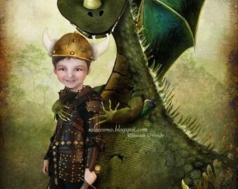 "Art Print - ""Evan""  - 8x10 or 8.5x11 Little Boy and his Pet Dragon - Green and Brown - Digital Collage Art - Nursery Art - Fantasy Fairy"