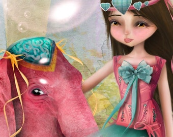 "5x7 Premium Art Print ""Chelsea y Beatriz Senora del Elefante Rosa"" Small Size Giclee Print  - Circus Performer Girl With Pink Elephant"