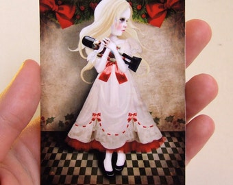 "ACEO/ATC ""Clara and the Nutcracker"" Artists Trading Card Premium Fine Art Mini Print 2.5x3.5 - Nutcracker Suite Christmas Ballet"
