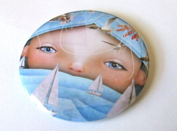"Pocket Mirror ""Swell"" Round 2 1/4 inches - Lowbrow Artwork Girl with Blue Ocean Waves Boats and Birds"