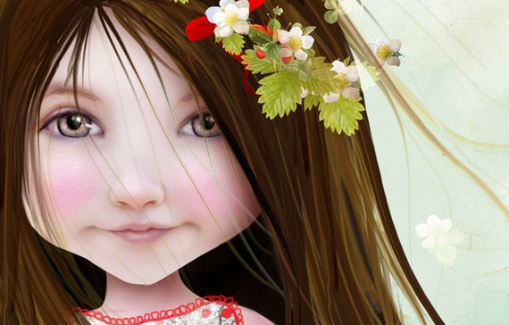 5x7 Fine Art Print - 'Annalise Lane' - Little Strawberry Girl - Small Sized Giclee print by Jessica Grundy