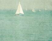 Sail Boat - 11 X 14 Photography Print - Chicago Illinois Lake Michigan Summer Vacation