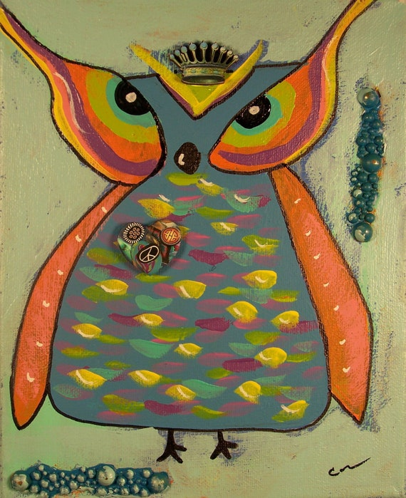 Original acrylic and mixed media  hoot owl painting on canvas