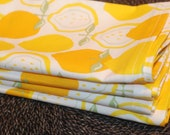 Set of 4 Handmade Cotton Cloth Dinner Napkins Eco Friendly Lovely Yellow Lemons Print