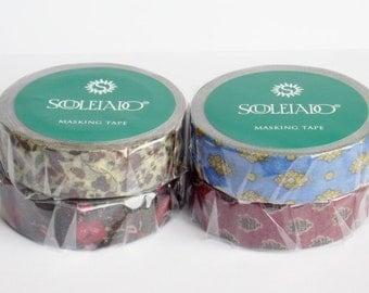 limited edition - washi tape - Souleiado - blue/yellow -  la merveille and red -  La petite fleur des champs -