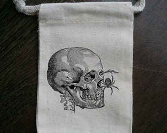 Skull with Spider Muslin Party Favor Bag