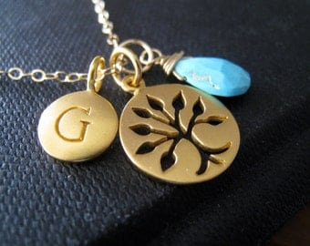 Personalized tree necklace,  birthstone initial necklace, gold tree of life pendant, gift for grandmother, grandma, mother, mom