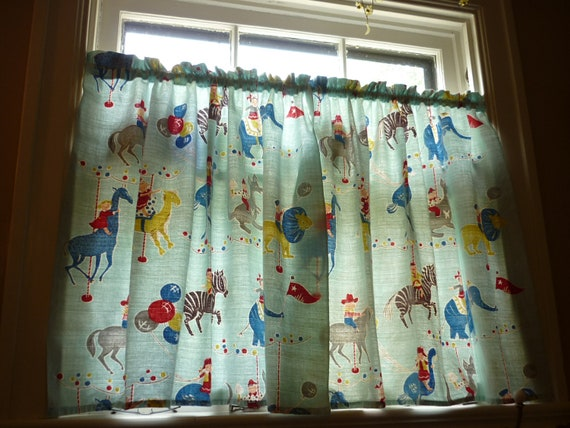 1950s Kids Room Curtains Aqua Barkcloth W Merry Go Round