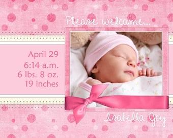 Custom Birth Announcement Design, Birth or Adoption Announcement, 4x6 photo card - fun pink polka dots sample
