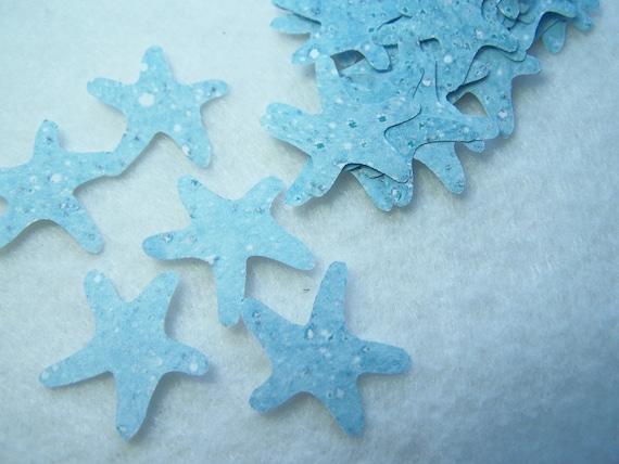 Starfish Die Cuts, Hand Punched, Light Blue Card Stock, Starfish, Ocean Theme, Beach, Confetti,