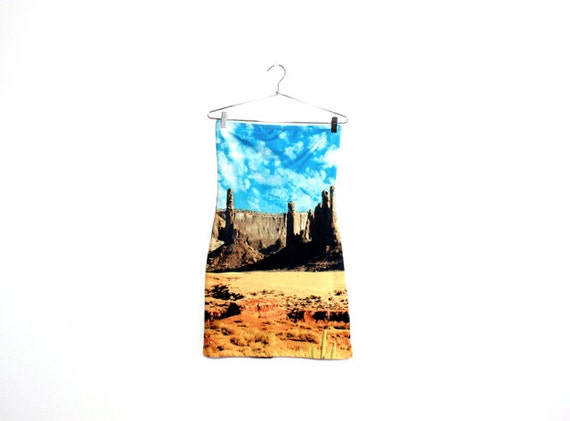 Desert Photo Print Strapless Dress