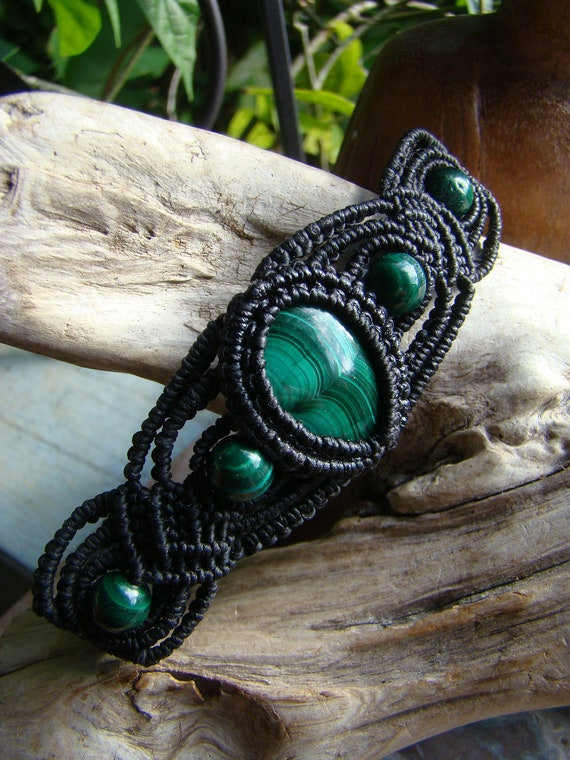 Natural Malachite Gemstone Micro Macrame Bracelet- Hand Made, Eco-friendly, soft and pliable Organic waxed Hemp Cord