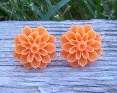 Flower earrings: Pumpkin chrysanthemum  -Nickel free post -Buy Two Get One FREE-
