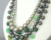 Vintage green glass and grey faux pearl beaded necklace, multi strand