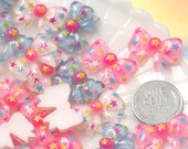Kawaii Cabochons - 20mm Little Colorful Star Print Ribbon or Bow Resin Flatback Cabochons - 9 pc set