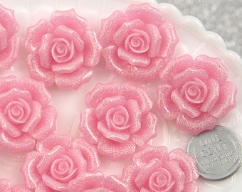 Flower Cabochon - 28mm Beautiful Light Pink Glitter Rose Resin Cabochons, Large Size - 5 pc set