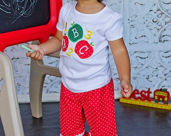 ABC 123 School Outfit, Appliqued T-shirt  and Pant Set, Back to school set, Apple Shirt,  sizes 3T, 4T, 5, 6, 7