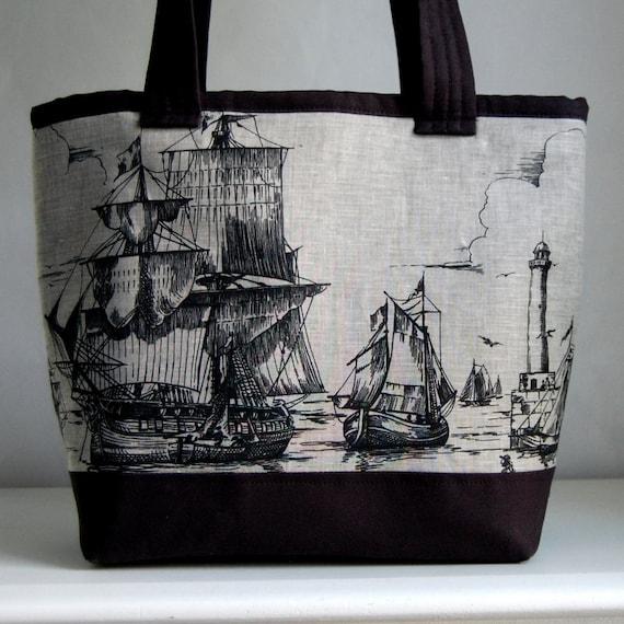 Ships Fabric Tote Bag - READY TO SHIP