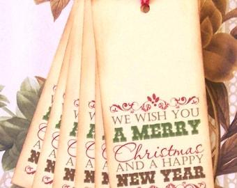 Christmas Gift Tags Christmas Party Favor Vintage Style Treat Bag Tags Handmade TC003
