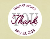 Envelope seals, stickers, labels, tags, round-- Wedding thank you