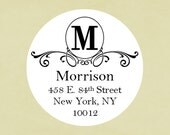 Return address labels, stickers, tags, envelope seals, round--Scroll circle address