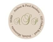 Return address labels, stickers, tags, envelope seals, round--Scroll monogram