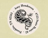 Return address labels, stickers, tags, envelope seals, round--Paisley flourish