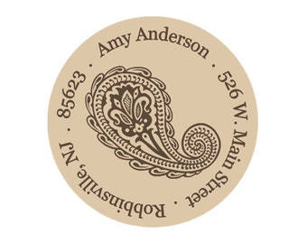 Return address labels, stickers, tags, envelope seals, round--Paisley