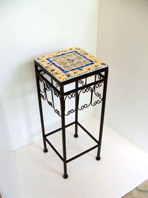 Mosaic Topped Metal Plant Stand / Patio Table Blue and Yellow