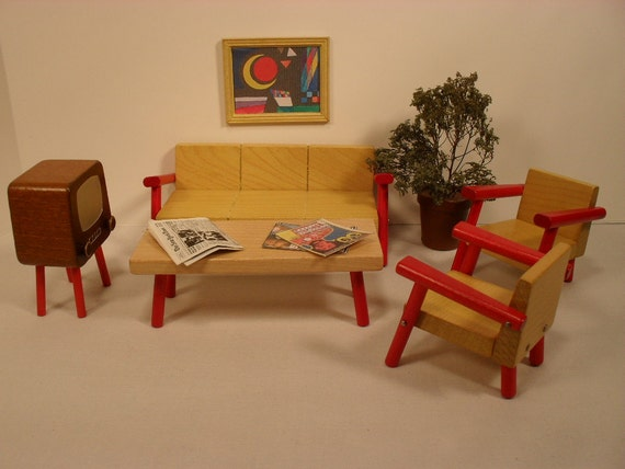 Dollhouse Furniture Modern Living Room Solid Wood In Small