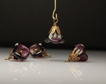 Vintage Style Bead Dangles Purple Glass Flowers Set of Four PR14