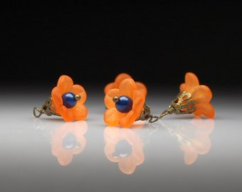 Vintage Style Bead Dangles Orange and Blue Lucite Flowers Set of Four O120