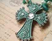 The Amazonite Cross - Religious Necklace,  Freshwater Pearl Necklace, Silver Necklace, Amazonite Necklace, Cross Necklace