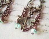 Dragonfly Breeze - Dragonfly Earrings, Brass Earrings, Insect Earrings, Chandelier Earrings