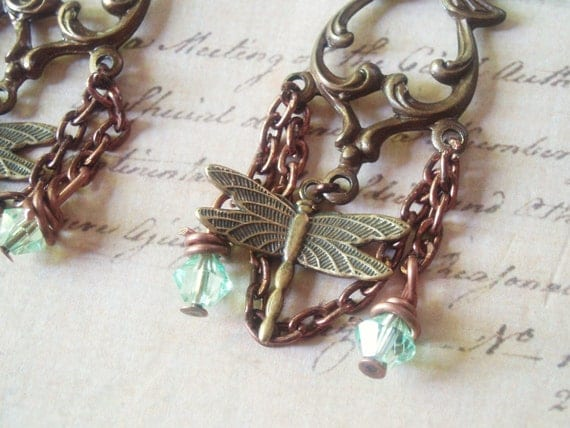 Dragonfly Breeze - Dragonfly Earrings, Brass Earrings, Insect Earrings, Chandelier Earrings