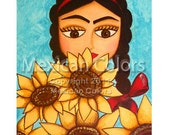 Frida with sunflowers - PRINT (8x10) - GICLEE print from original painting