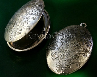 26x37mm Oval Victorian Hand Touched Antique Silver Locket  Pendant LKOS-99AS - 1pcs