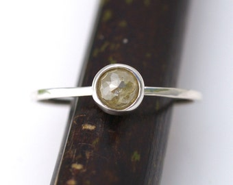 Rose Cut Light Yellow Diamond Bloom In Silver