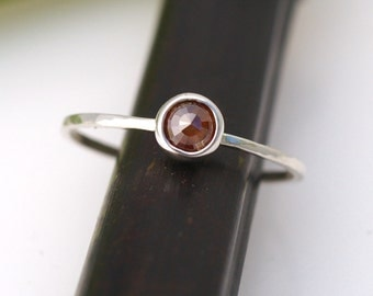 Rose Cut Light Brown Diamond Bloom In Silver