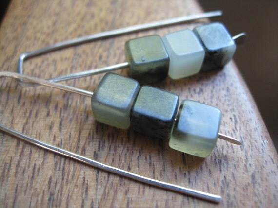 RESERVED green stone earrings. sterling silver earrings. geometric earrings. splurge.