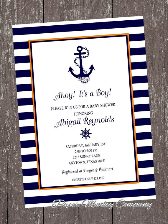 Orange And Navy Nautical Anchor Invitations