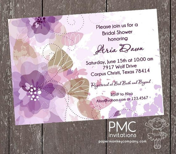 Purple Flower Bridal Shower Invitation : Purple floral bridal shower invitation each with