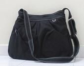 New Year SALE - 40% OFF Hoodie in Black / Market Bag / Sling bag / Shoulder Bag / Tote / Purse / Hip bag / Large / Women / For her