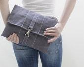 New Year SALE - 20% OFF WITT Waxed Canvas in Gray / Clutch Bag / Wristlet / iPad Sleeve /Tablet case / Women / Men / Gift Ideas