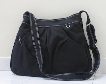 Back To School SALE - 40% OFF Hoodie in Black / Market Bag / Sling bag / Shoulder Bag / Tote / Purse / Hip bag / Large / Women / For her
