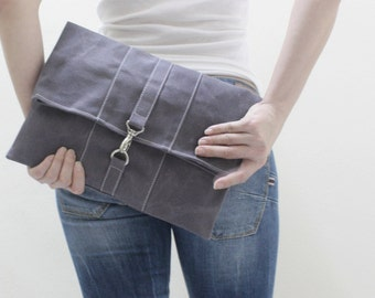 Foldover, Clutch Bag, Dinner Bag, Wristlet, iPad Sleeve, Tablet Bag, Unisex Clutch, Gift For Women -WITT in Waxed Canvas Gray - SALE 30% OFF