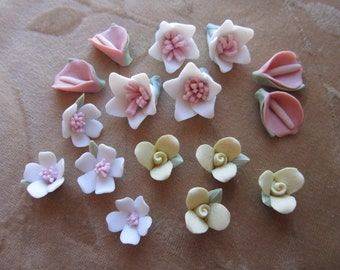 16 Vintage polymer resin flower cabochons, calla lily,apple blossom 13mm to 18mm