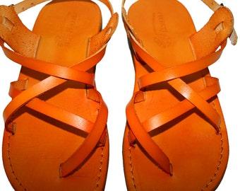 Orange Triple Leather Sandals For Men & Women - Handmade Sandals, Leather Flats, Leather Flip Flops, Unisex Sandals, Orange Leather Sandals